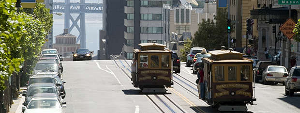 Cable car on the street in San Francisco