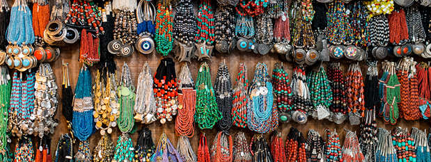 Colourful necklaces at a shop in Old Delhi