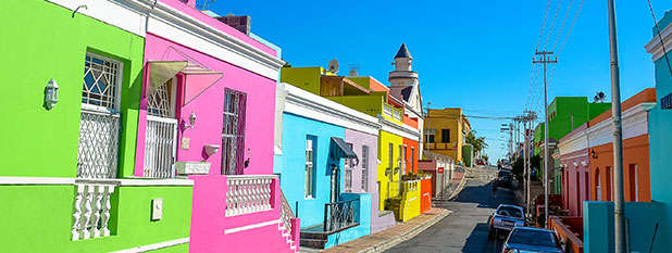Colourful buildings in Bo Kaap, Cape Town