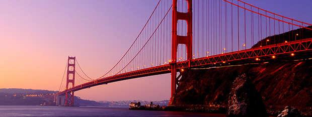 The Golden Gate Bridge at sunrise