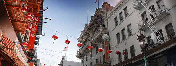 Laterns above Chinatown in San Francisco