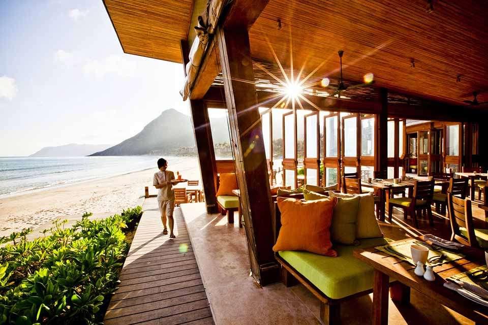 The beach side restaurant at Six Senses Con Dao