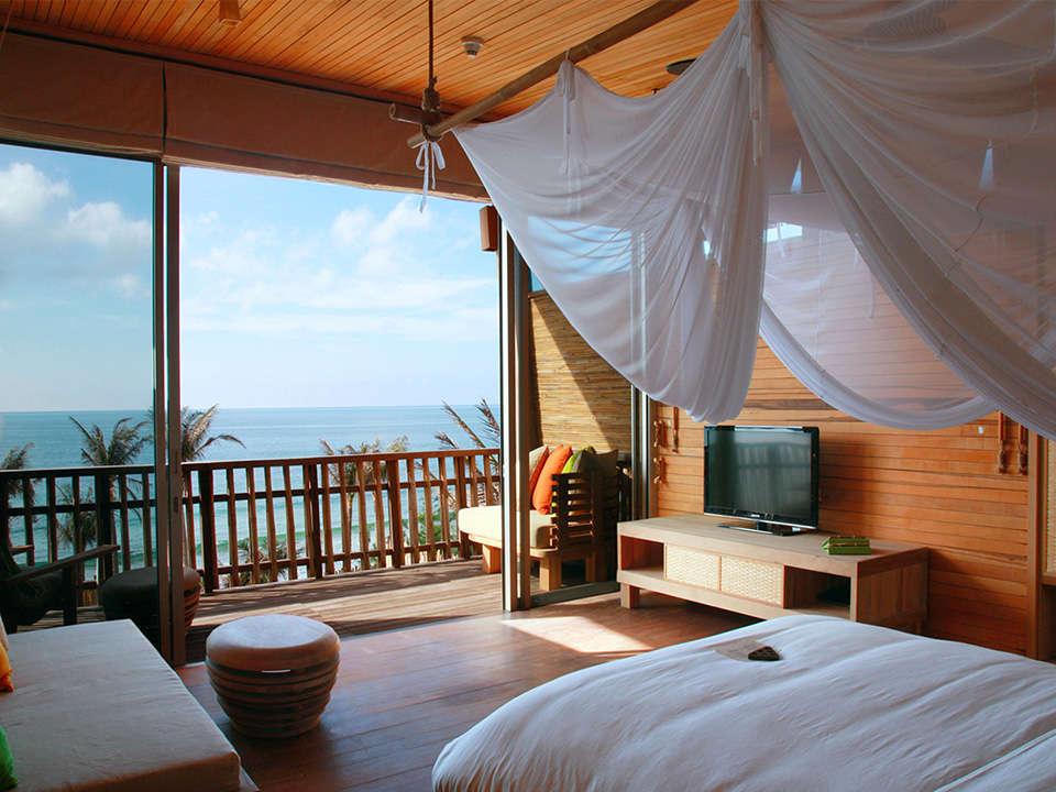 An ocean front duplex at Six Senses Con Dao