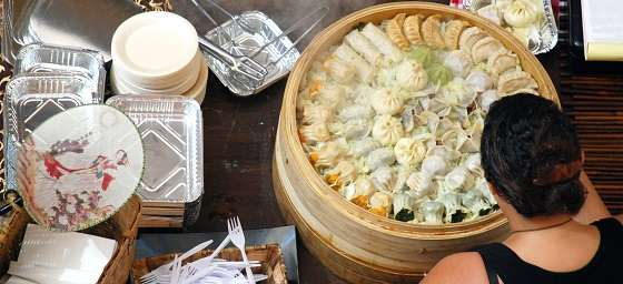 Dumplings on sale at a market in China