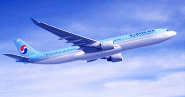 Korean Air in the sky