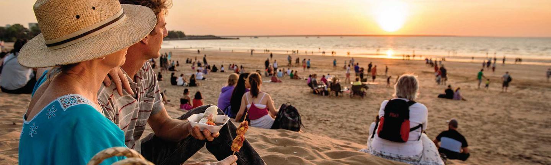 sunset at Mindil Beach in Darwin