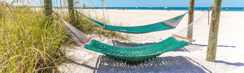 Hammocks on a beach in Florida
