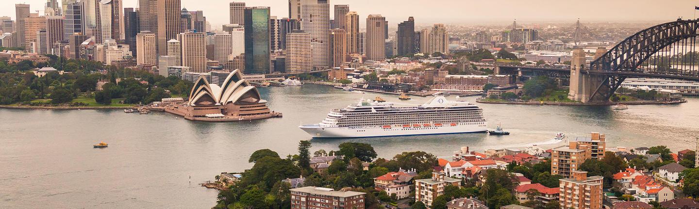 An Oceania cruise ship in Sydney Harbour