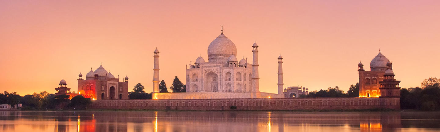 Taj Mahal at sunset in India