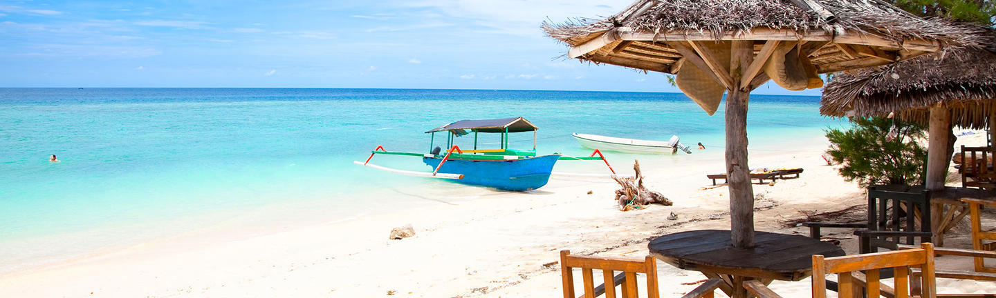 A boat on a beach in Bali