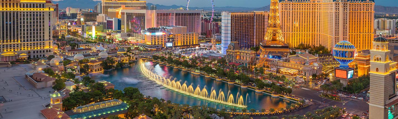 An aerial view of the Las Vegas strip