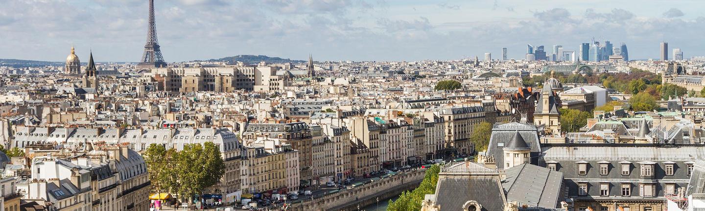 An aerial view of Paris