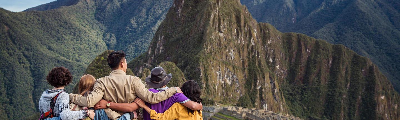 A tour group at Machu Picchu in Peru