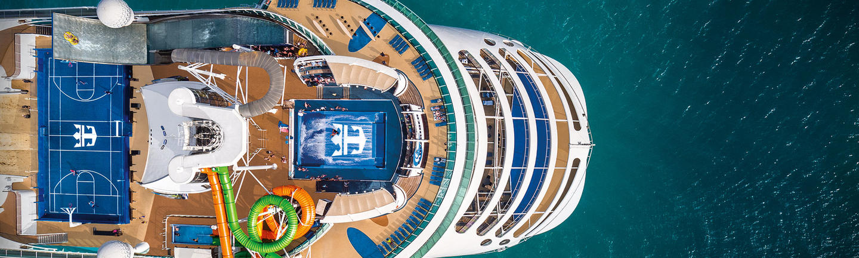 An aerial view of a Royal Caribbean Ship