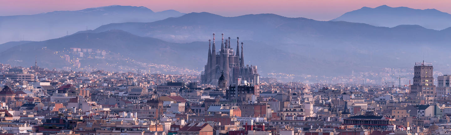 Sagrada Familia in Barcelona skyline