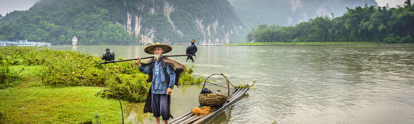 Cultural holidays, cormorant fisherman China