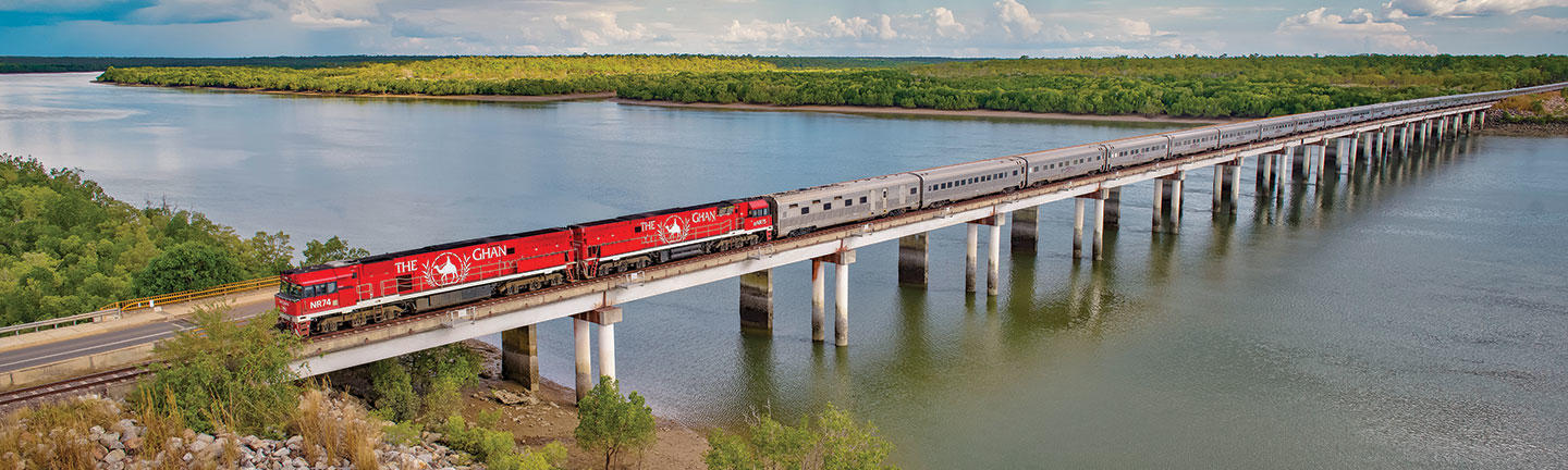 The Ghan train travelling north to Darwin, Australia