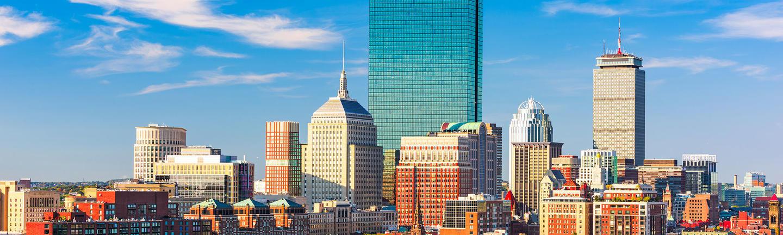 Boston skyline with greenery