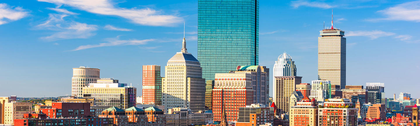 Boston skyline with greenery