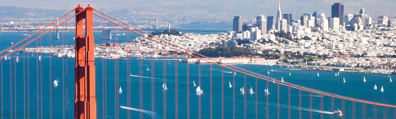 Golden Gate Bridge in front of the San Francisco city skyline