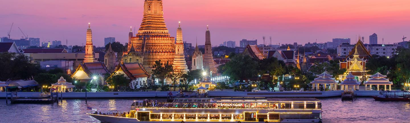 A cruise ship on the Chao Phraya River in Bangkok