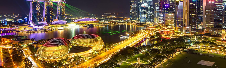 The Singapore skyline at night