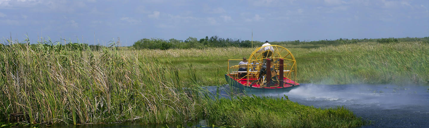 An air boat in the everglades in Florida