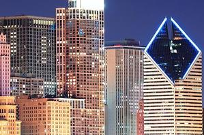 The Chicago city skyline