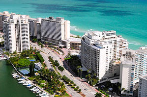 Miami's beachfront from above
