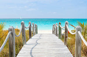 Boardwalk leading out to the beach in Turks and Caicos