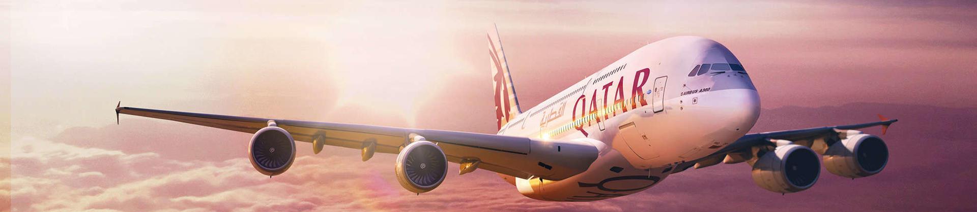 Qatar Airways A380 aircraft in the sky