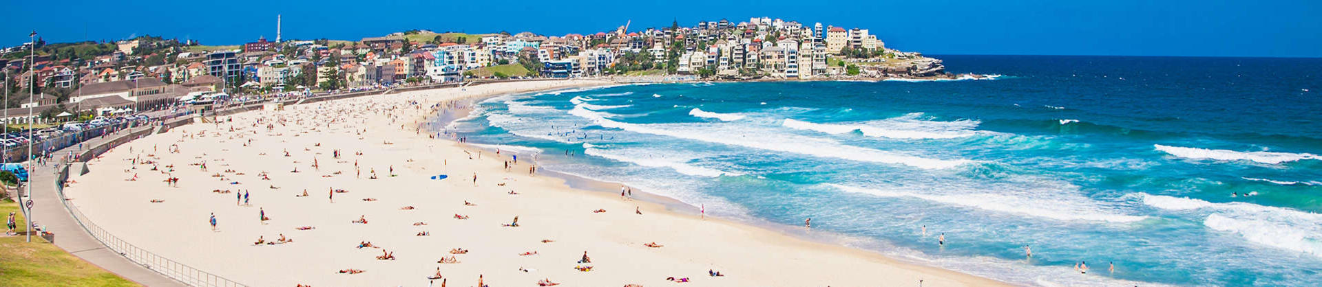 An aerial view of Bondi Beach in Sydney