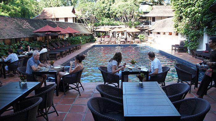 Breakfast by the pool at Tamarind Village
