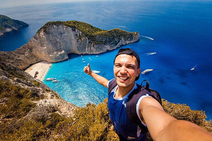 A travel selfie taken in Greece