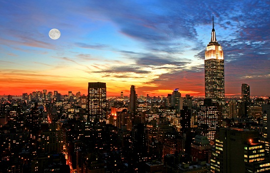 New York - City View and Moon