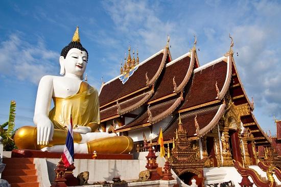 Buddha image at chiang mai temple Thailand