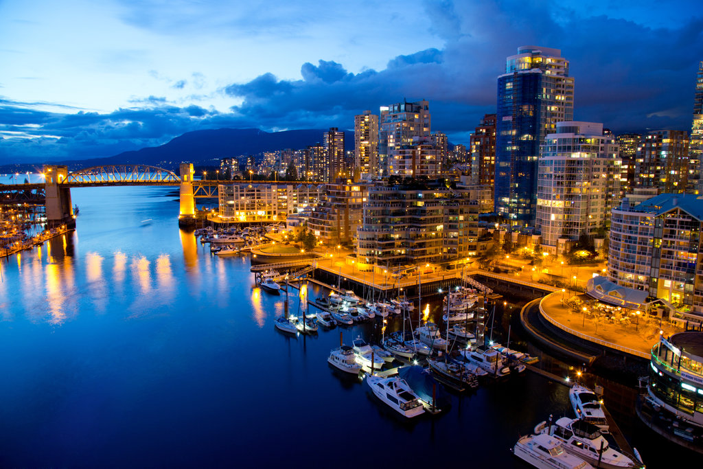 Vancouver City next to Waterfront at Dusk