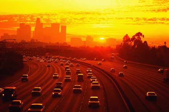 Los Angeles Traffic and Beautiful Sunset