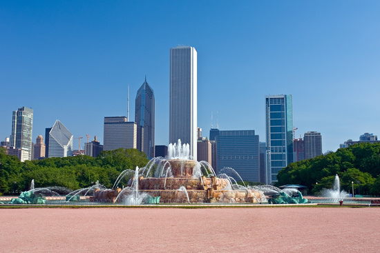 Chicago Skyline Against the Buckingham Fountain