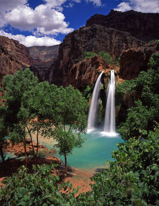Havasu Falls on the Havasupai Indian Reservation in the Grand Canyon, Arizona