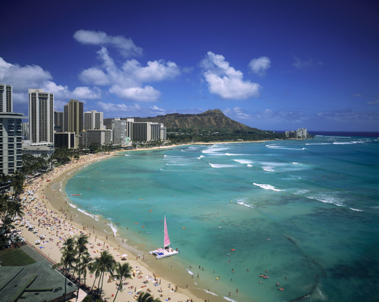 Waikiki Beach and Diamond Head Crater on the Island of Oahu in Hawaii