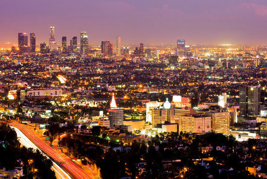 Los Angeles During Rush Hour at Sunset, California