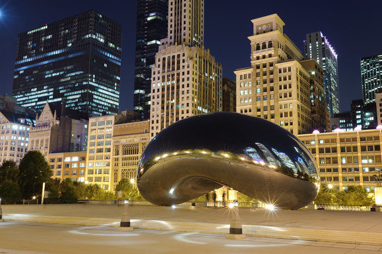 Millennium Park at Night in Chicago, Illinois