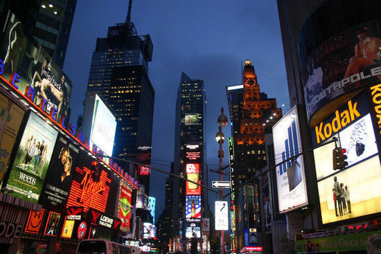 Adverts and Neon Lights at Night in New York