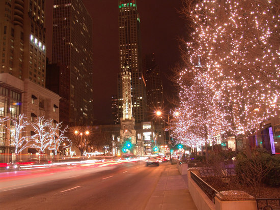 Winter Snow at Night in Chicago, Illinois