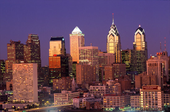 Philadelphia Skyline at Night, Pennsylvania