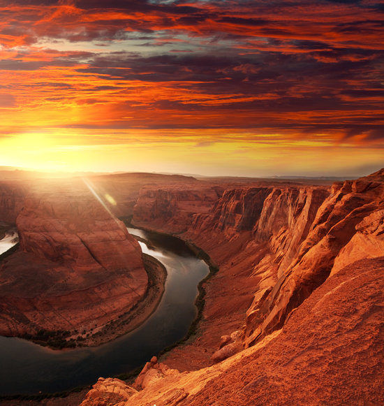 River and Sunset at the Grand Canyon, Arizona