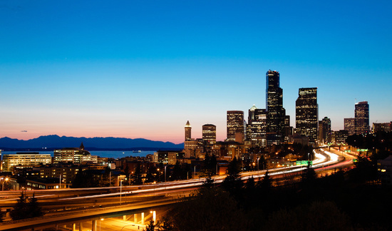 Seattle Skyline at Night in Washington State