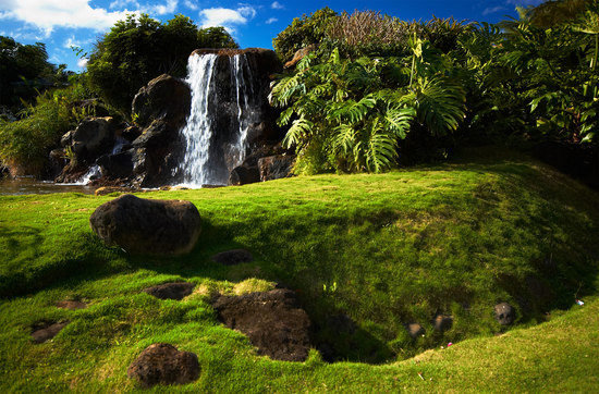 Princeville Resort Waterfall on Kauai, Hawaii