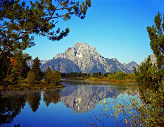 Oxbow Bend at Snake River and Mount Moran in National Park, Wyoming